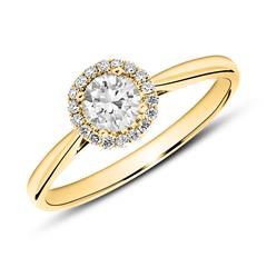 585er Gold Haloring mit Diamanten
