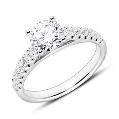 750er Weißgold Verlobungsring mit Diamanten