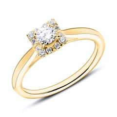 Engagement Ring In 18ct Gold With Diamonds
