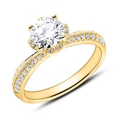 Diamantbesetzter Verlobungsring aus 750er Gelbgold