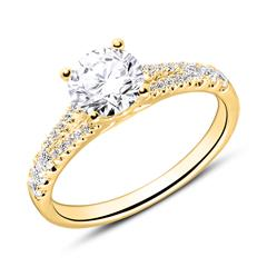 18-karätiger Goldring mit Diamanten