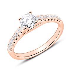 Diamantbesetzter Verlobungsring aus 18K Roségold