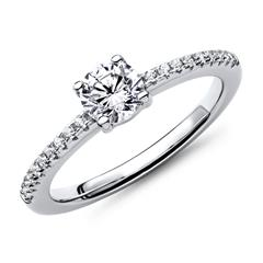 Engagement Ring, Engravable In Sterling Silver Zirconia