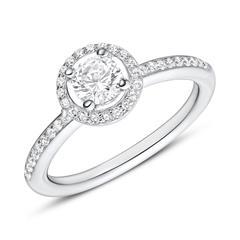 925er Silber Verlobungsring mit weißen Zirkonia