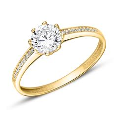Engagement Ring In 9K Gold With Zirconia
