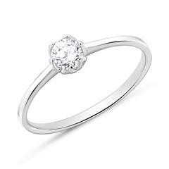 14K Weißgold Verlobungsring mit Diamant