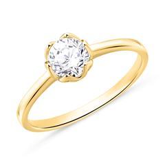 Solitärring aus 585er Gold mit Diamant