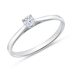 585er Weißgold Verlobungsring mit Diamant