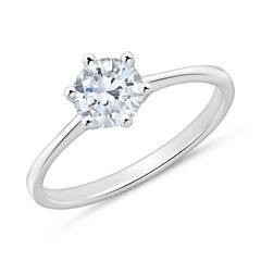 Engagement Ring In 14ct White Gold With Diamond