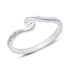 Diamantbesetzter Verlobungsring aus 585er Weißgold