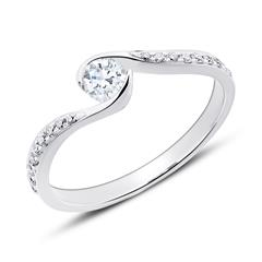 Verlobungsring aus 14K Weißgold mit Diamanten
