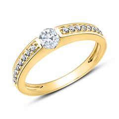 Diamantbesetzter Verlobungsring aus 14-karätigem Gold