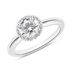 Halo Verlobungsring aus Sterlingsilber mit Zirkonia