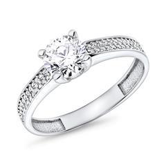 9K Weißgold Verlobungsring mit Zirkoniasteinen