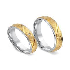 Eheringe 585er Gelb- Weissgold mit Diamant
