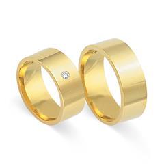 Eheringe 333er Gelbgold mit Diamant