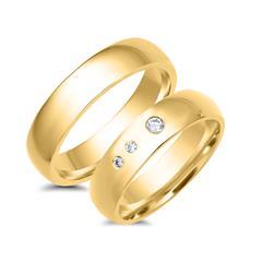 Eheringe 585er Gelbgold 3 Diamanten
