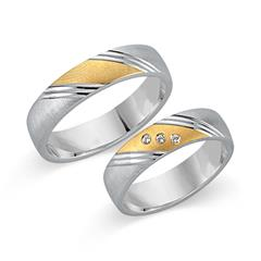 Eheringe 585er Gelb- Weissgold 3 Diamanten