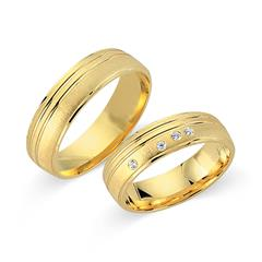 Eheringe 585er Gelbgold 4 Diamanten