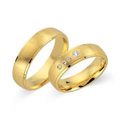 Trauringe 333er Gelbgold 4 Diamanten