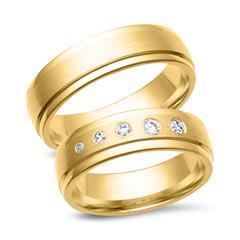Trauringe 750er Gelbgold 5 Diamanten