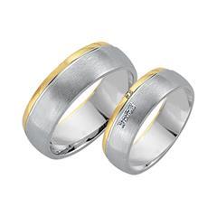 Eheringe 585er Gelb- Weissgold 4 Diamanten