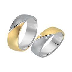 Eheringe 585er Gelb- Weissgold 2 Diamanten