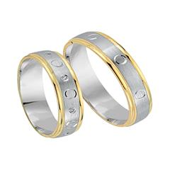 Trauringe 585er Gelb- Weissgold 8 Diamanten