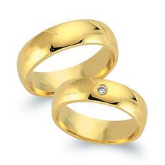 Trauringe 333er Gelbgold mit Diamant