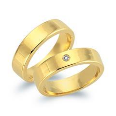 Trauringe 585er Gelbgold mit Diamant