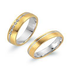 Eheringe 585er Gelb- Weissgold 5 Diamanten