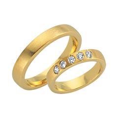 Eheringe 750er Gelbgold 5 Diamanten