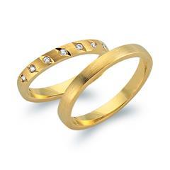 Eheringe 585er Gelbgold 7 Diamanten