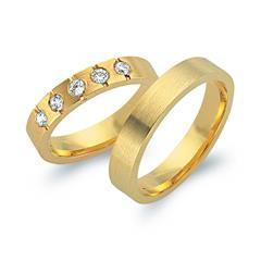 Eheringe 585er Gelbgold 5 Diamanten