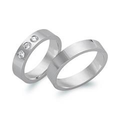Trauringe 585er Weissgold 3 Diamanten