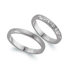 Eheringe 585er Weissgold 7 Diamanten