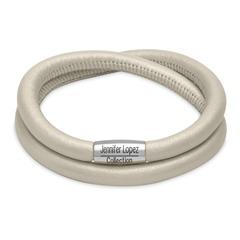 Zweireihiges Charm Armband Creme Metallic