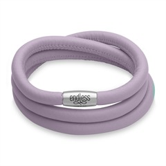Endless-Armband lavendel dreireihig silber