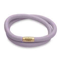 Endless-Armband Leder lavendel zweireihig gold