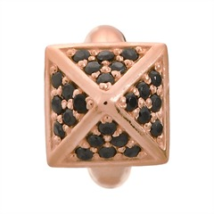 Black Shiny High Rise Rose Gold Charm