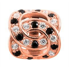 Double Love Rose Gold Charm 925er Silber
