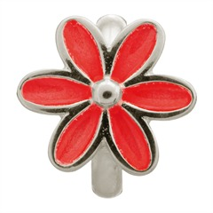 Red Enamel Flower Silver Charm Sterling