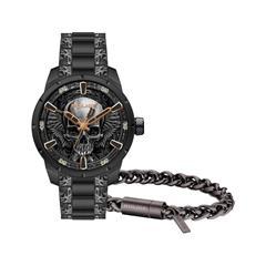 Herren Uhr und Armband aus schwarzem Edelstahl