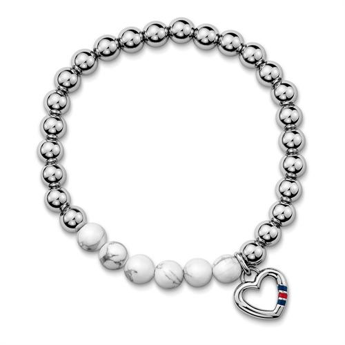 Perlenarmband Herz silber