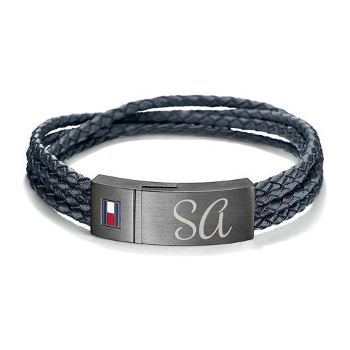 Gravur Armband Leder dunkelblau