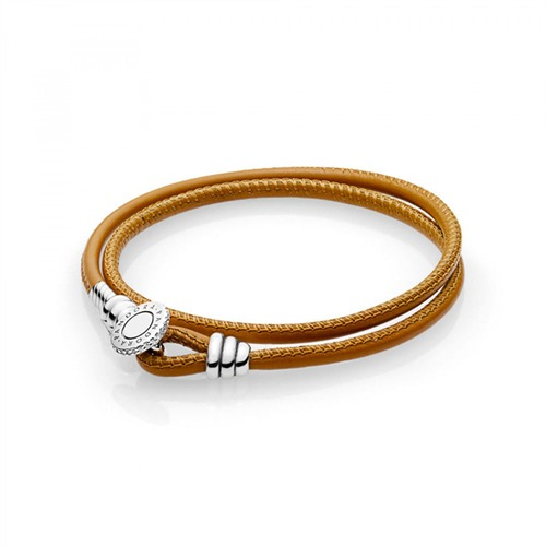 Lederarmband Moments Double Golden Tan