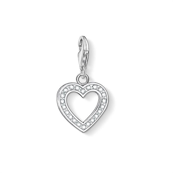 Charm Herz aus 925er Silber mit Zirkonia