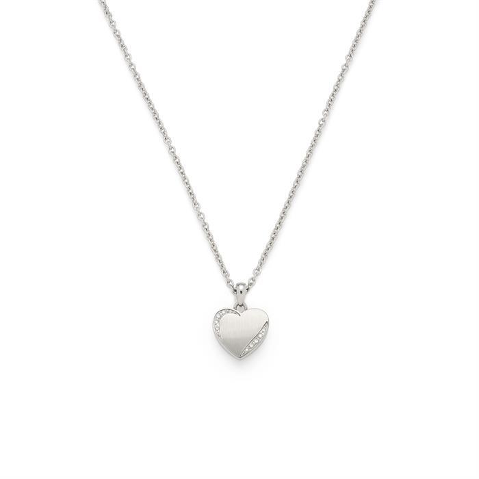 Herzkette Grazia aus Edelstahl mit Zirkonia gravierbar