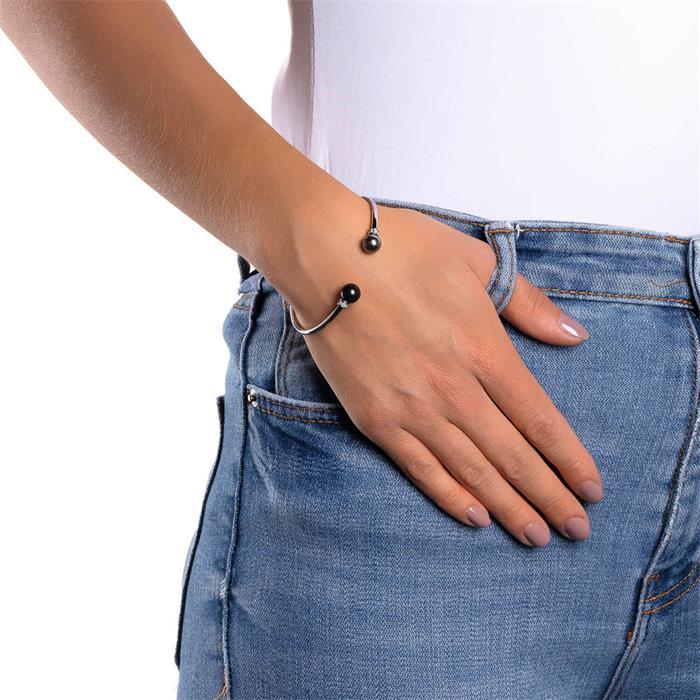 Armreif Mica für Damen aus Edelstahl mit Perlen