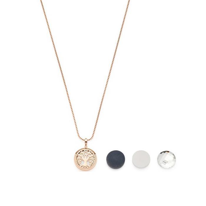 Medallion necklace Infinita stainless steel, rosé